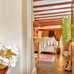 Traditional beams in a dog friendly holiday cottage in the heart of England