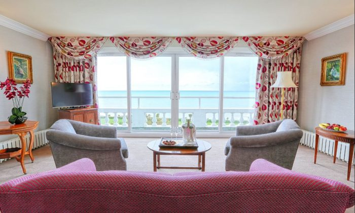 Dog Friendly bedroom with beautiful sea views at the Grand Hotel, Eastbourne