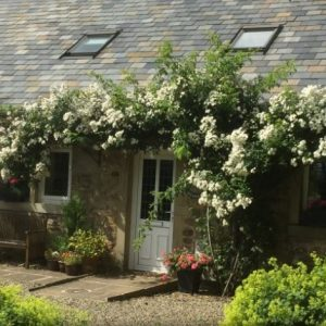 A picture perfect holiday cottage entrance at Barnacre Cottages in Preston, Lancashire