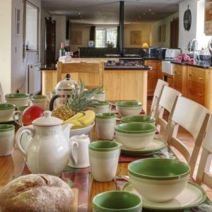 The impressive kitchen dining area at Barnacre self catering accommodation in Preston, Lancashire