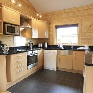 A beautiful, clean and contemporary kitchen at Flowerydell dogfriendly lodges, North Yorkshire
