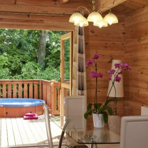 Hot Tub on the deck of South Winchester Dog Friendly Lodges, Hampshire