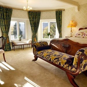 A stunning bedroom at the luxurious Pale Hall Hotel in North Wales