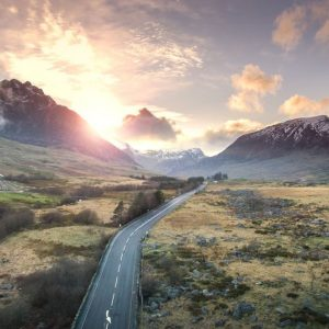 A winding road through breathtaking Welsh scenery