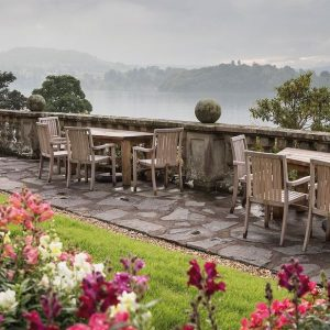 You and your dog can enjoy the Lakeside views on the elegant outdoor terrace at Langdale Chase Hotel