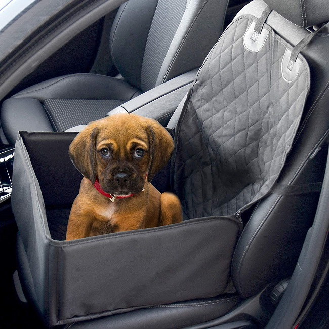 Puppy car seat with cute boxer puppy, a 2 in one car seat.