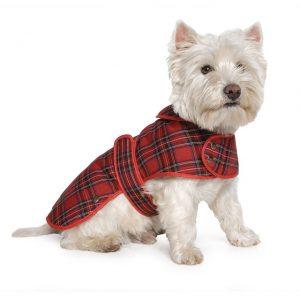 Ancol highland red tartan dog winter coat