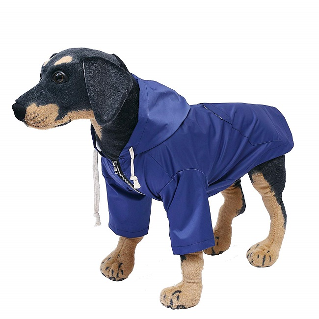 Morezi dog raincoat in blue with two waterproof front legs and hood.
