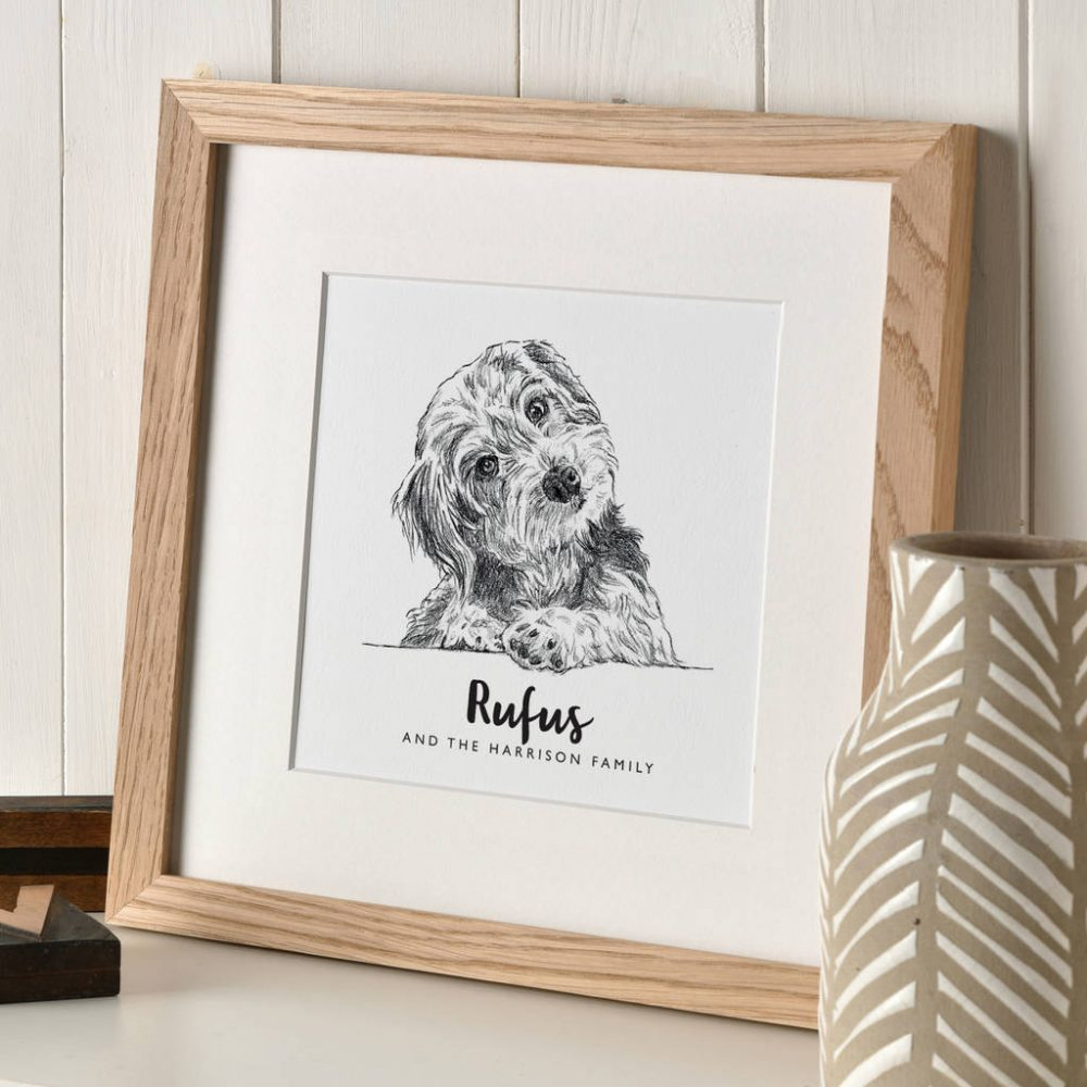 Custom Pet Portraits Pencil - a very cute sketch portrait of a puppy