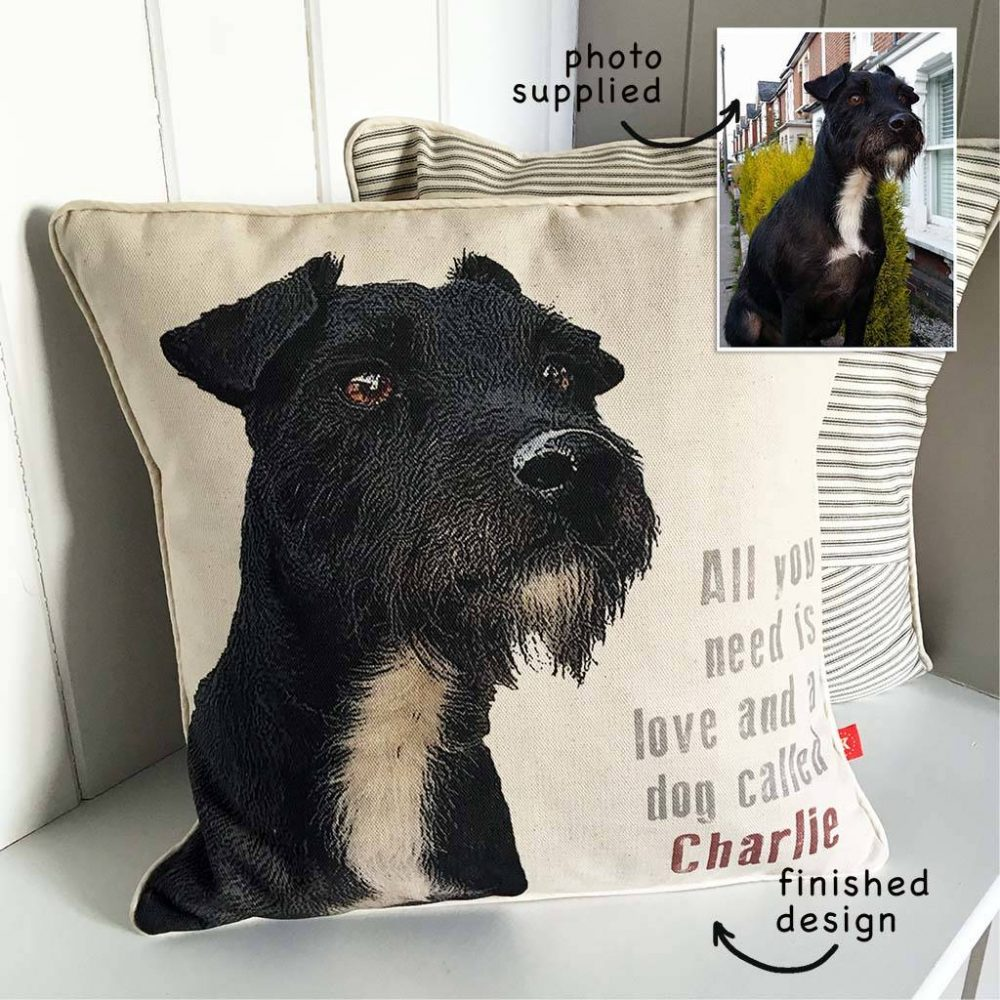 A beautiful personalised dog cushion which has been custom designed from a photograph.