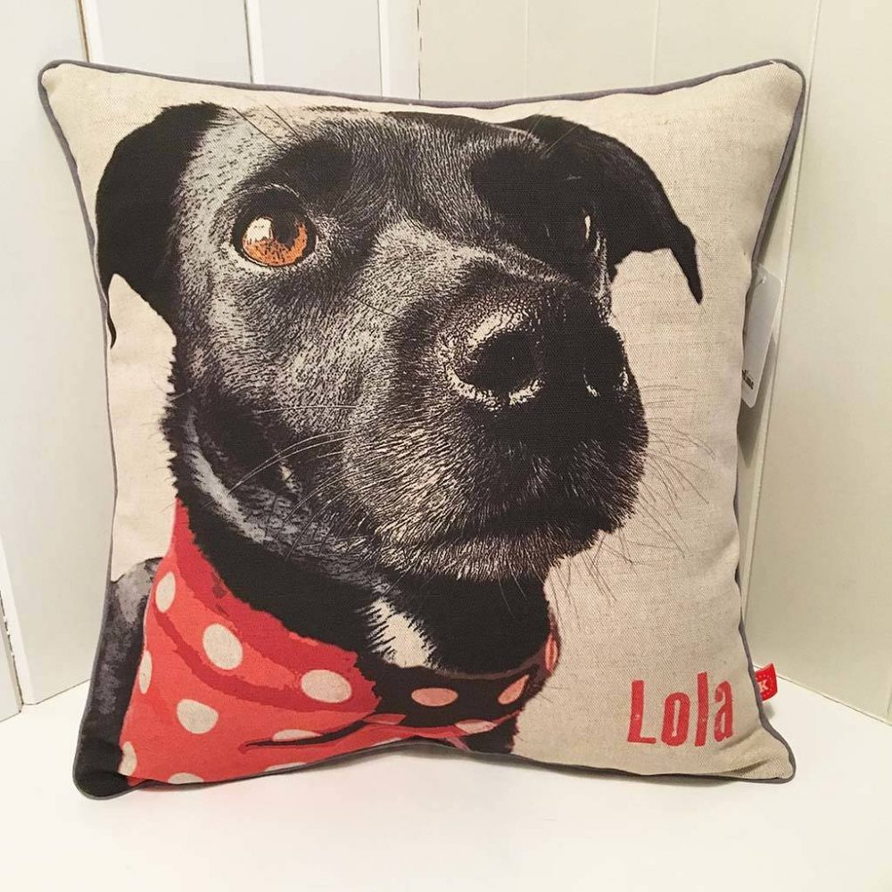 Personalised Dog Cushion in linen featuring a black labrador with a red and white pokadot neckerchief