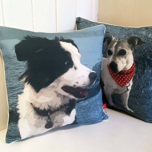 Personalised dog cushions - two separate dog cushions, one featuring a collie and the other Jack Russell
