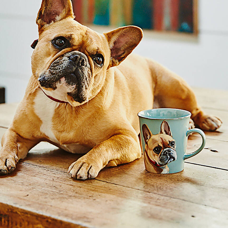 A personalised dog mug with pale blue background featuring a handsome pug.