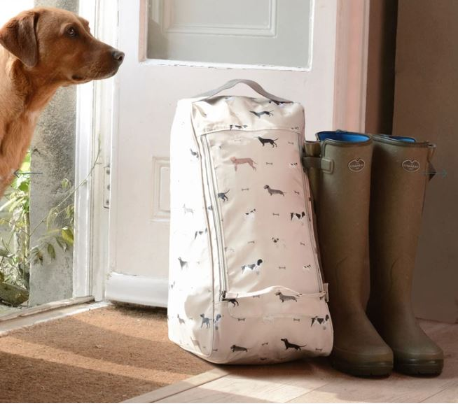 A gorgeous labrador looking at a handy sophie Allport Wellington Boot Bag next to a pair of green wellies