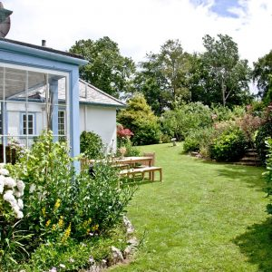 Dog friendly garden at Cregoes Luxury Coastal Cottage, Devon, Cornwall and Somerset Coast Line