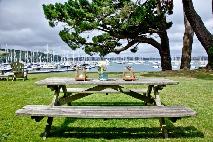 Luxury Coastal Cottages, The Garden overlooking the harbout at Cregoes.